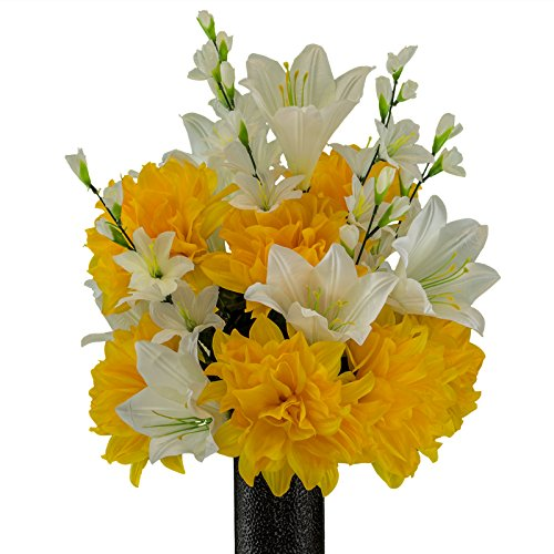 Ruby's Silk Flowers Lily with Gold Dahlia, Featuring The Stay-in-The-Vase Design(C) Flower Holder (MD2194)