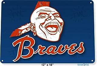 5Polar Bear& Tin Sign Braves Baseball Atlanta Metal Decor Wall Store Card Shop Bar 12x8inch Iron Painting