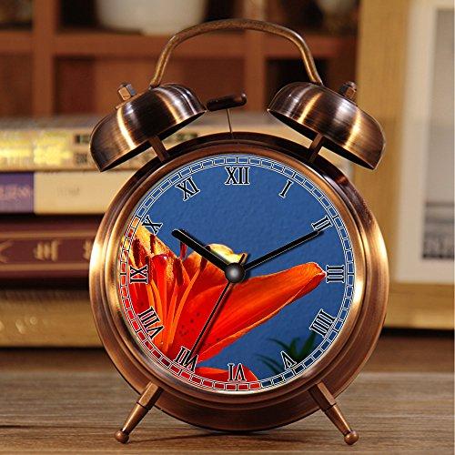 Wecker, Retro Portable Twin Bell neben Wecker mit Nachtlicht 495.Orange Lily, Blume, Frühling, Orange, Farbe