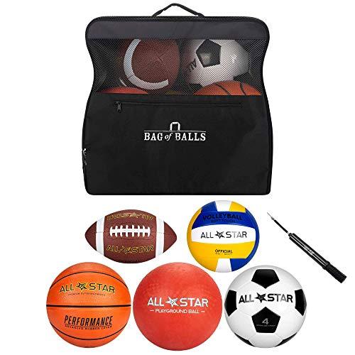 Bag of Balls – Basketball, Soccer Ball, Football, Volleyball, Playground Ball with Sports Equipment Bag and Pump