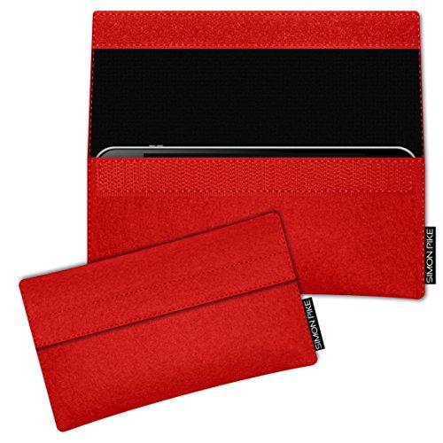 SIMON PIKE Hülle Tasche kompatibel mit Samsung Galaxy S8 Active | Filztasche Newyork in 1 rot aus Filz (echtem Wollfilz) Handyhülle