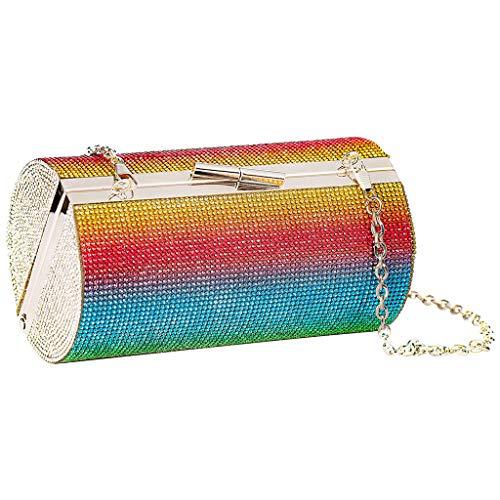WanMei Bolso de noche con diamantes de imitación arcoíris para mujer, bolso de fiesta de lujo para boda, bolsa de embrague de diamante cilindro bolsa de hombro