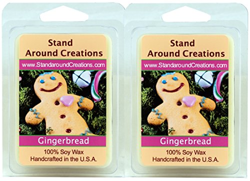 100% All Natural Soy Wax Melt Tarts - Set of 2 - Gingerbread: A Spiced Cookie, with a Freshly Baked Character with hints of Vanilla, Nutmeg, Cinnamon and Ginger. - 3ozs ea - Naturally Strong Scented