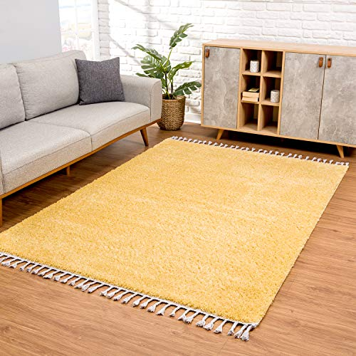 carpet city Teppich Wohnzimmer - Shaggy Hochflor Gelb - 160 x 230 cm Einfarbig - Moderne Teppiche mit Fransen