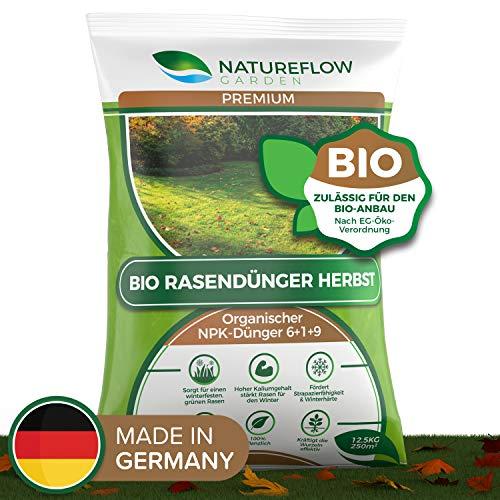 Natureflow Premium Organischer Herbstrasendünger - 12,5kg Bio Rasendünger Herbst für einen Kräftigen, Winterfesten, Gesunden Traumrasen - NPK Dünger 6+1+9 für Strapazierfähigkeit und Winterhärte
