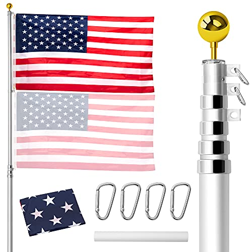 Gientan 20FT Telescopic Flag Pole, Extra Thick Heavy Duty Aluminum Flagpole Kit with 3x5 US Flag&Golden Ball Top for Commercial Residential Outdoor Use, Fly up 2 Flags