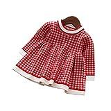 ウィードマップ ベビー服 ワンピース ドレス ニット 長袖 チェック柄 子供服 暖か 厚手 おしゃれ 女の子 幼児 0-4歳 レッド 80CM