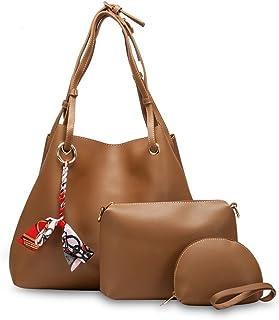 شنطة هوبو جلد صناعي مزينة بسكارف مربوط شكل فيونكة مع حقائب داخلية صغيرة وحزام للكتف قابل للفصل للنساء من جيه بي - جملي