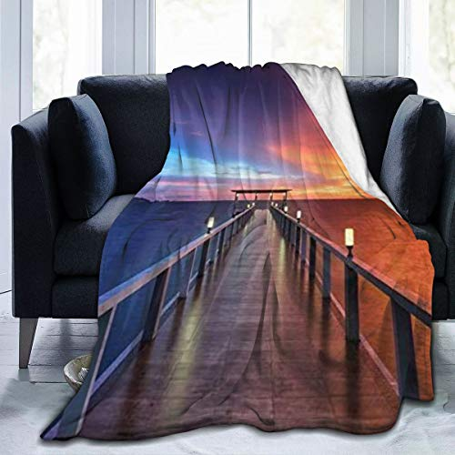 Nongmei Manta de Franela con patrón Personalizado,Puente Madera Atardecer Océano Fantasía Cielo Azul Oscuro Naranja Paisaje,Manta de Felpa Suave y cómoda 60'x80'