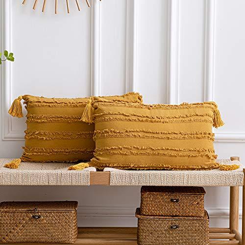DEZENE Fundas de Almohada Decorativas Amarillas: Paquete de 2 Fundas de Cojín Rectangular de Lino de Algodón a Rayas Boho de 30x50 cm con Borlas para Sillón de Sofá de Granja, Amarillo Mostaza
