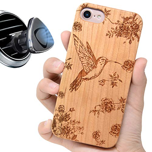 iProductsUS Wooden Phone Case Compatible with iPhone 8 Plus,7 Plus,6 Plus,6s Plus and Magnetic Mount, Engraved Hummingbird,Built-in Metal Plate,TPU Shockproof Protective Covers (5.5 inch)
