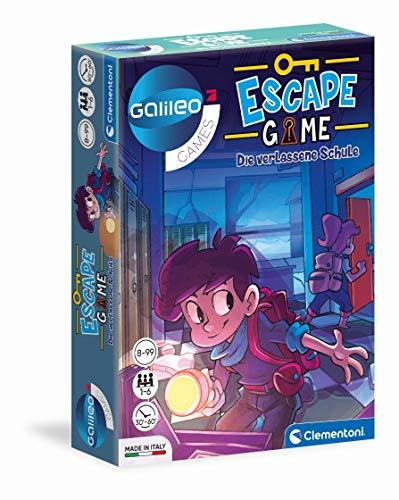 Clementoni 59228 Escape Game – Die verlassene Schule, spannendes Gesellschaftsspiel zum Knobeln & Rätseln, inkl. Hinweiskarten und Requisiten, Familienspiel ab 8 Jahren