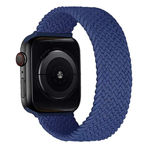 MroTech Correa Compatible con Apple Watch 44mm 42mm Pulseras de Repuesto para iWatch SE Serie 6 5 4 3 2 1 Correa de Nailon elástico Banda Elastic Nylon Woven Loop Sport Band 42/44 mm-Noche Azul/L