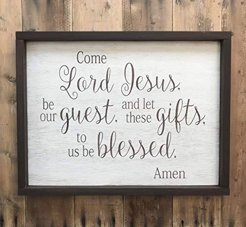 Ced454sy gestresst komen Heer Jezus worden onze gast teken tafel gebed teken ingelijst
