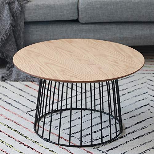 Mesa de centro de mesa de café para sala de estar, dormitorio, balcón, familia y oficina, ovalada de cristal templado, madera, Latón, 50x50x40cm