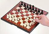 PIVFEDQX Chess Chess, Juego de ajedrez magnético Especial Hecho a Mano para competición, portátil Plegable Adecuado para Principiantes Ajedrez (Beige + marrón, 19 19 2 cm) (tamaño: pequeño)