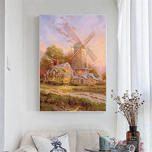 Abstract olieverfschilderij Rustiek Land Tuindecoratie Muurfoto's Woonkamerdecoratie Windmolen Poster-60X90cm_unframed