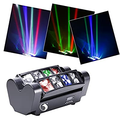 U`King Moving Head Stage Light DJ Spider Light LED 8x10W RGBW 4 Color LED Light Disco DMX512 Portable DJ Disco LED Stage Light For KTV Parties Indoor Bar Club by U`King