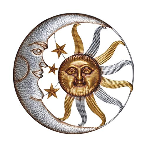 CAPRILO. Adorno Pared Decorativo Multicolor de Metal Sol y Luna con Estrellas. Cuadros y Apliques. Muebles Auxiliares. Decoración Hogar. Regalos Originales. 90 x 4 x 90 cm.