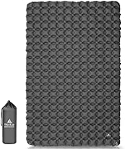 Hikenture Ultralight Double Sleeping Pad for Camping, Portable Waterproof Camping Pad with Pump Sack, Inflatable Comfort Camping Mattress 2 Person, Ripstop Sleeping mat for Backpacking (Grey)