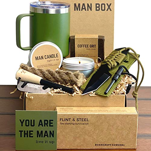 Man Gift Box | Fun Outdoor Men Gifts  Camping Ferro Rod Fire Starting Rope Knife Candle Soap amp Tumbler | Guy Birthday Boxes for Adventurous Outdoorsy Guys Dad Son Boyfriend Husband