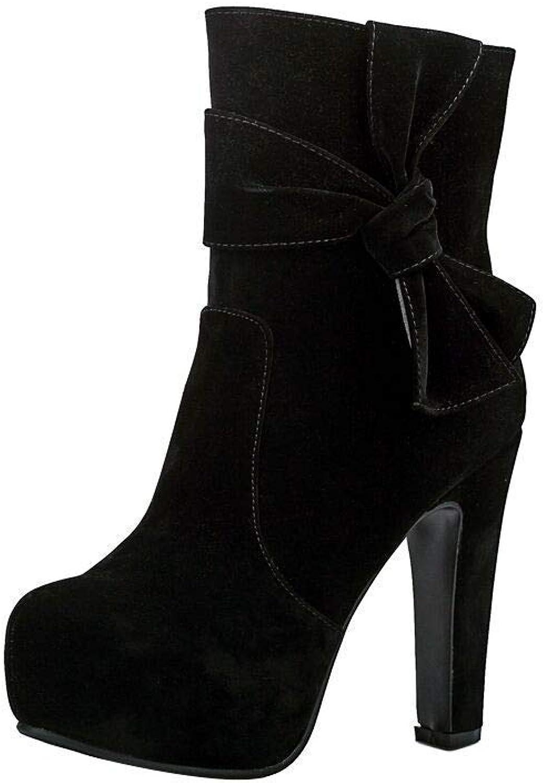 ZHRUI Runde Kopf Wasserdichte high Heel Mode Seitlichem reiverschluss sexy Damen Kurze Stiefel (Farbe   Schwarz, Gre   3.5)