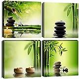 Ohok - 4 stampe su tela da parete, in stile giapponese, stile contemporaneo, con pietra nera e cultura zen, in bambù, verde, con cornice per bagno, casa, ufficio, 30 x 30 cm