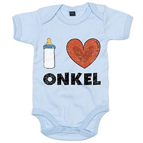 Shirt Happenz I Love Onkel Premium Babybody Baby Milch Neugeboren Mädchen Kurzarmbody, Farbe:Babyblau (Dusty Blue BZ10);Größe:6-12 Monate