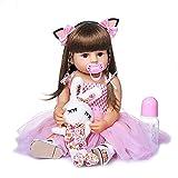 FLOF Muñeca de silicona para bebés recién nacidos con pelo recto realista y suave, juguete realista para niños renacidos niño niño juego casa