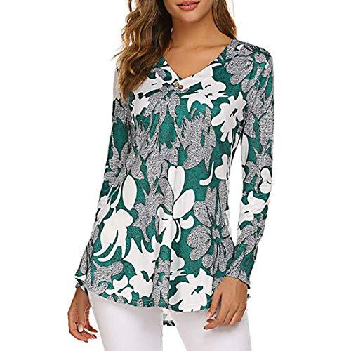Women T-Shirt Women Tops Elegant V-Neck Loose Comfortable Fashion Temperament Women Tops Autumn New Long Sleeve Classic Style Stretch Fabric Women Blouse A-Green 3XL