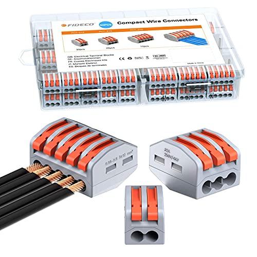 Lever-Nut Compact Wire Connectors FIDECO Electrical Connectors Blocks 60pcs Compact Splicing Connectors Assortment Conductor PCT-212(30) PCT-213(20) PCT-215(10)