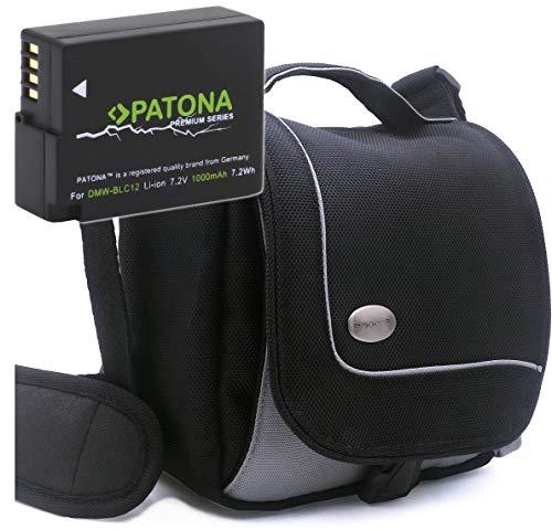 Baxxtar SportsBag Kameratasche und PATONA Premium Akku - Ersatz für Panasonic DMW-BLC12 E - zu Lumix DC FZ330 FZ1000 II DMC G70 G80 G7 G6 G5 FZ200 FZ300 FZ1000 FZ2000 - Leica V-Lux 4