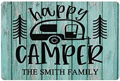 MyPhotoSwimsuits Personalized Happy Camper Doormat 24 X 16 Indoor Outdoor with Custom Name Entrance product image