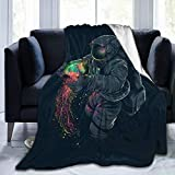 60'X50' Comfort Throw Blankets Ultra Soft and Fluffy Blankets Throw Blankets for Couch and Living Room Fall Winter and Spring - Astronaut Rainbow Color Jellyfish Blankets