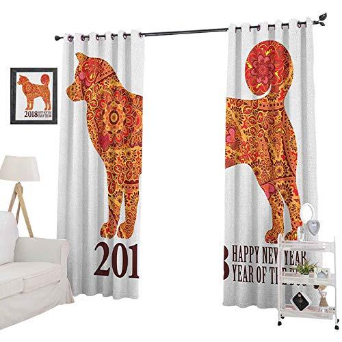YUAZHOQI - Cortinas personalizadas, diseño canino con flores y corazones, calendario festivo, 2018, cortinas opacas para dormitorio de 132 x 213 cm, multicolor