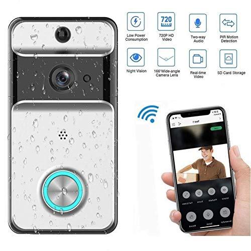 J.KM Video-Türklingel, WiFi Wireless Remote-Türklingel 720P Video-Tür, Glocke mit PIR-Bewegungserkennung, Zwei-Wege-Gespräch in Echtzeit, Nachtsicht und App-Steuerung für IOS Android