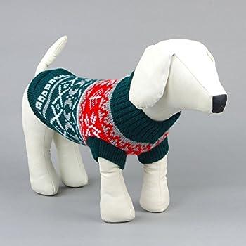 Tineer Manteau de Tricot de Flocon de Neige de Chien d'animal familier, Chiot Chat Pull-Overs Sweater Jacket Hiver Noël vêtements Chauds (XXL, Vert)