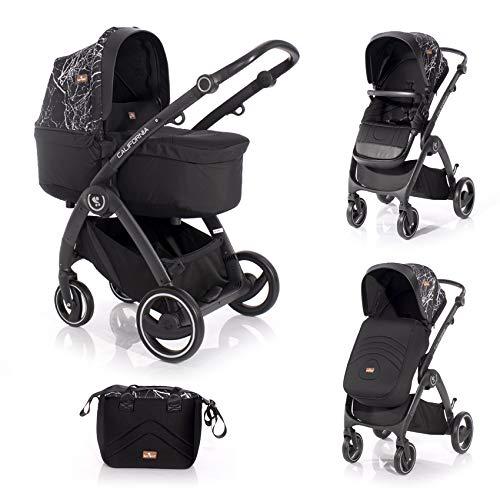 Lorelli Kinderwagen 2 in 1 California Babywanne Sportsitz Alurahmen Wickeltasche, Farbe:schwarz