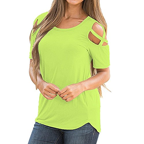 Fainosmny Womens Shirt Cold Shoulder Blouse Cross Strappy Tops Loose Pullover Short Sleeve Jumpers Spring Summer T-Shirt (Light Green, L)