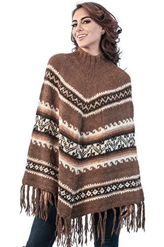 Poncho para mujer de INTI ALPACA 100% alpaca – Hecho a mano de lana natural alpaca – punto – Poncho de invierno grueso – Talla única marrón Tallaúnica