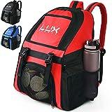 Lux - Mochila de fútbol con Compartimento para Pelotas de fútbol para jóvenes y niños, Bolsa de Equipo para fútbol y Baloncesto, Voleibol, Gimnasio, Rojo