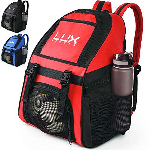 LUX, Fußball-Rucksack mit Ballhalterfach, für Kinder, Jugendliche, Jungen, Herren, Mädchen, Teams, Fußball, Basketball, Volleyball, Fitnessstudio, rot