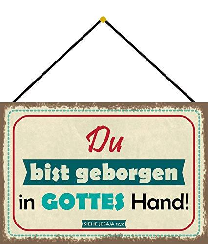 FS Spruch du bist geborgen in Gottes Hand Blechschild Schild gewölbt Metal Sign 20 x 30 cm mit Kordel