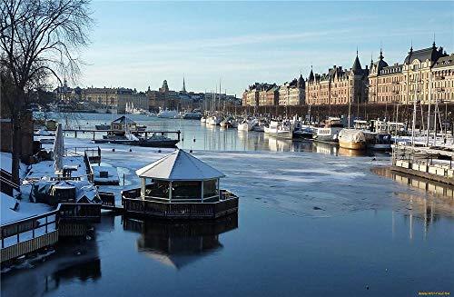 Città Europea Paesaggio Con Navi Sull'Acqua Puzzle 3D Per Adulti Puzzle In Legno Da 300 Pezzi Puzzle Di Fantasia Difficili E Fantastici Stile Artistico Fai Da Te
