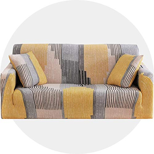 Carvapet Sofa Covers Stretch Settee Couch Cover Patterned Slipcovers 3 Seater, Yellow Geometry