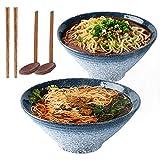 Cuenco de sopa de fideos Ramen japonés de cerámica de 9 pulgadas, 2 juegos (6 piezas) 1600 ml tazón multiusos con cuchara y palillos a juego, para fideos instantáneos, sopa, fideos, Pho, Udon y Soba