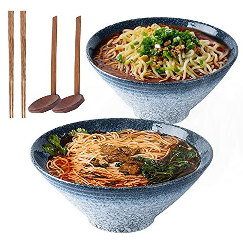 Japanische 9-Zoll-Keramik-Ramen-Nudelsuppeschüssel , 2 Sätze (6 Stück) 1600 ml Mehrzweckschüssel mit passendem Löffel und Essstäbchen für Instantnudeln, Suppe, Nudel, Pho, Udon und Soba (blue)