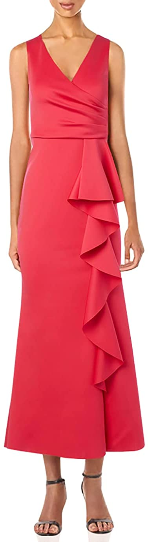 Jessica Howard Women's Sleeveless Side Tuck Gown with Cascade Ruffle Peplum Skirt
