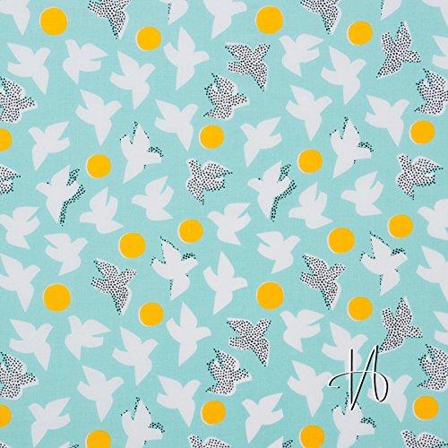 MIRABLAU DESIGN Stoffverkauf Baumwolle gemustert, fließender Popeline GOTS, weiße Tauben auf türkis (16-096M) 0,5m