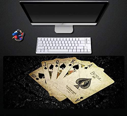 Computer Mouse Pad Zwarte Poker vervaagt niet Game Comfortabele Muis Pad Game Speler Beste Toetsenbord Pad Rubber Duurzame Locking Edge Pad 900 * 400 * 3Mm